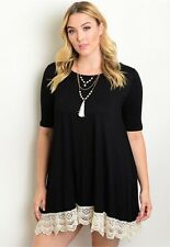 WOMENS PLUS DRESS 2X BLACK TUNIC TOP NEW 18 20 XXL LACE NWT CUTE SPRING DEAL