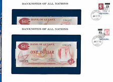 Banknotes of All Nations Guyana 1983 1 Dollar P21e  UNC sign 6 2 Consecutive