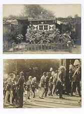 TWO GERMAN MILITARY WORLD WAR I PROCESSION BKG SPIKED HELMETS  RPPC POSTCARDS #A