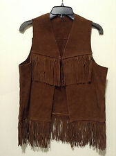 Ladies Chocolate Brown Leather Fringe Vest
