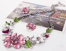 Damen Strass Blume Statement Kette Halskette Blogger Ohrringe Schmuck Set SE