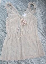 Beige Nude CHANEL coco lace chanel top tank shell ruffle bow detail 44 8 10 M L