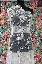 "060138 Sold by 1/2 yard Ivory corded beaded french Bridal Lace Fabric52"" Scallop"