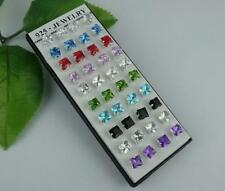Wholesale 40pcs LF 925 Silver Plated square CZ stud Earrings 5mm