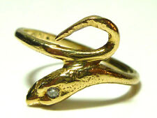 ANTIQUE VICTORIAN NOUVEAU 10K YELLOW GOLD DIAMOND SNAKE SERPENT RING BAND