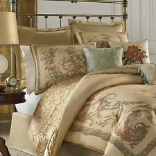4-PC CROSCILL NORMANDY CAL KING WC COMFORTER SET BEIGE FRENCH COUNTRY FLORAL