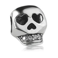 S925 sterling silver Halloween Skull Clear CZ Charm Bead Fit European Bracelet