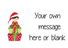 63 personalised stickers address gift tags thank you - ND1 Elf on present xmas