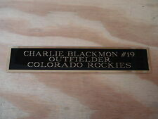 Charlie Blackmon Rockies Nameplate for a Baseball Jersey Diplay Case 1.5 X 8