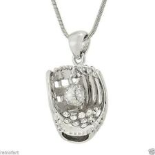 W Swarovski Crystal Baseball Softball Glove Ball New Pendant Necklace Gift