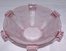Art Deco Stolzle Pink Clear Frosted Bowl Czech Bohemian 1930's Centrepiece