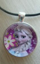 """ Disney's Frozen Princess ELSA "" Glass Pendant with Leather Necklace"