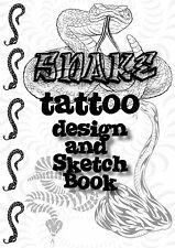 Snake Tattoo Design and Sketch Book. All Black/White Drawings! Great Collection!