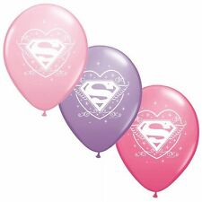 "6 pc 12"" Super Girl Forever Party Latex Balloons Happy Birthday Baby Pink Hero"