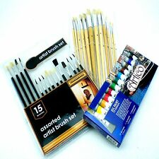 ARTISTS OIL PAINTING BRUSHES SET FINE MIXED ART KIT COLOR PAINTERS OILS TUBES