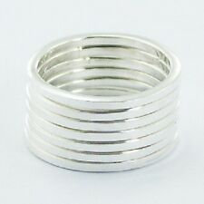 Silver ring stackable 925 silver stack of 7 rings in each set size 9us brand new