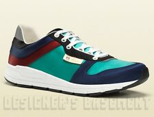 GUCCI Mens 12 G* turquoise/navy Multicolor Satin IPANEMA Crest Sneakers NIB Auth