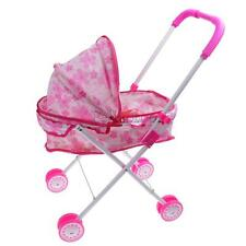 Pink Cute Stroller Pushchair Pram Foldable Child Girls Trolley Toy w/ Doll