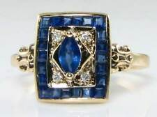 CLASSE ART DECO INS 9k gold blue sapphire & diamond ring ridimensionamento libero