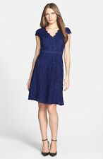 NWOT  navy  Adrianna Papell Lace Fit & Flare Dress size  10