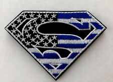 SUPERMAN AMERICAN FLAG Army Airsoft Tactical Black Ops Blue VELCRO® Morale Patch