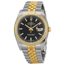Rolex Datejust Black Automatic Stainless Steel and 18kt Yellow Gold Mens