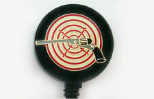 GUN TARGET PISTOL Retractable ID Security Card Holder Badge Reel Key chain ring