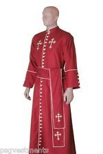 Red Clergy robe semi lined with white trims & crosses / minister preacher robe