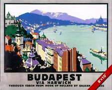 VINTAGE BALKAN BUDAPEST HUNGARY VACATION TRAVEL AD POSTER ART REAL CANVAS PRINT