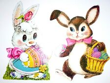 2 VINTAGE EASTER BUNNIES GIRL AND BOY DIE CUT OUT DECORATIONS SO CUTE