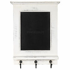 White Wall Unit Chalk Memo Notice Black Board Shelf Rack Coat Key Hooks Decor