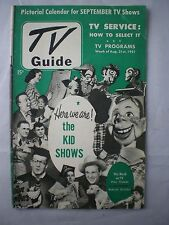 TV GUIDE Aug. 31, 1951 Pictoral Calendar Kid Shows, Howdy Doody, Captain Video