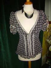 Black & Beige Crinkle Shirt with Ribbons Lace & Bead details Size 12 £29.99 BNWT