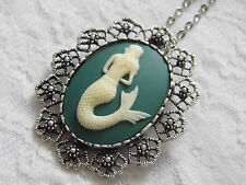 #JRK31216  MERMAID NAUTICAL NECKLACE PENDANT BROOCH SEA LADY GODDESS AQUA
