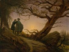 PAINTING LANDSCAPE FRIEDRICH TWO MEN CONTEMPLATING MOON ART PRINT POSTER LF562
