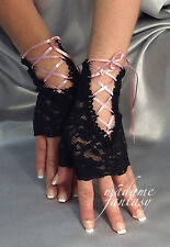 SEXY NEW LACE UP TIE FINGERLESS GLOVES - BLACK & BABY PINK