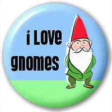 Small 25mm Lapel Pin Button Badge Novelty I Love Gnomes