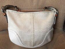 COACH  Signature Monogram White Canvas Brown Leather Shoulder Bag C 1460