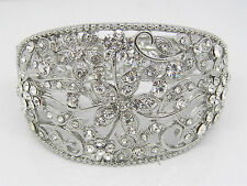 WEDDING CUFF BRACELET CLEAR DIAMANTE RHINESTONE VINTAGE ART DECO WEDDING JEWELRY
