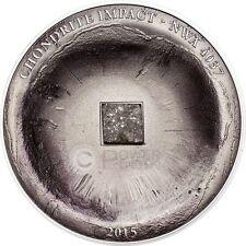 CHONDRITE IMPACT Meteorite NWA 4037 Silver Coin 5$ Cook Islands 2015
