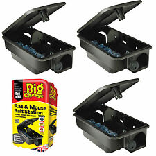 3 x PROFESSIONAL RODENT BOX TRAP STATION - RAT MICE MOUSE - NO POISON BAIT