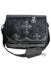 Darkstar/Jordash Gothic Victorian Steampunk BLACK Cobweb Lace PVC Messenger Bag
