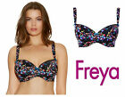 Freya Afterglow Underwired Padded Half Cup Bra Black Multi 1873 * New Lingerie