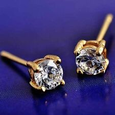 18K Gold Filled Clear crystal stud earrings Womens small earrings free shipping