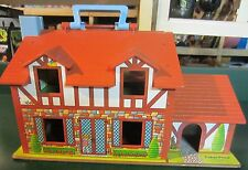 VINTAGE FISHER PRICE LITTLE PEOPLE TUDOR HOUSE with extras and box SUPER !!!!