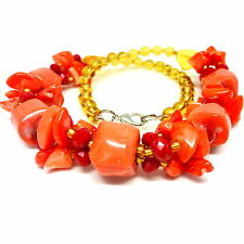 Synthetic red coral and glass cluster bead necklace - balouli