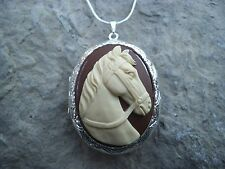 (LOCKET)- HORSE (CREAM/BROWN) CAMEO!! QUALITY!! GIFTS, CHRISTMAS