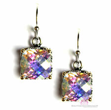 8mm Checker Throne Room Glory Fire Aurora Borealis Rainbow AB CZ Dangle Earrings