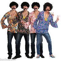 Mens Hippie Shirts Fancy Dress Costume Outfit 60s 70s Hippy Groovy Disco Peace