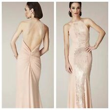 LM by Mignon NWT Sequin Sleeveless Full-Length Sheer Straps Gown *2 Blush  Prom